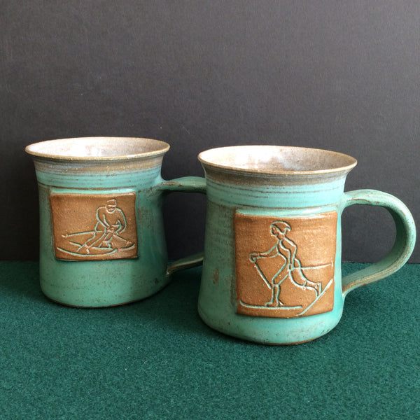 Assorted Embossed Sports Mugs, Fawn Ridge Pottery, Chestertown, NY