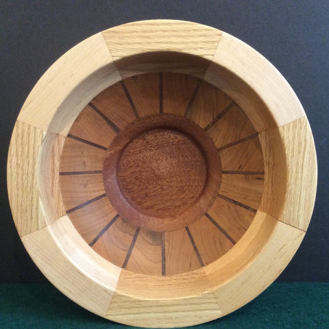 Segmented Bowl, Cherry, Oak and Maple, Frank DiLeonardo, Watertown, NY