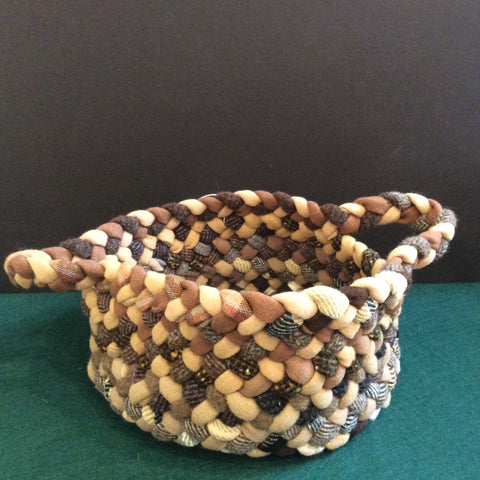 Braided Basket in Browns and Tweeds, Debbie Orland, Colton, NY