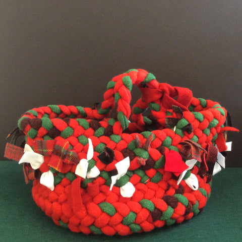 Braided Basket Red, Green and Plaids, Debbie Orland, Colton, NY