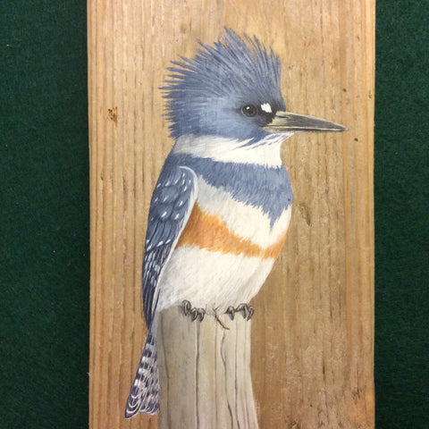 Driftwood Painting Belted Kingfisher and Lily Pads