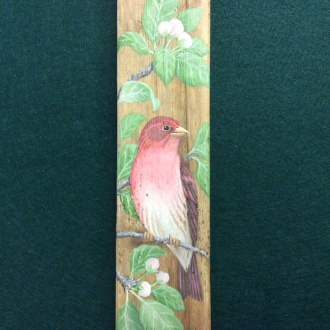 Driftwood Painting Purple Finches and Apple Blossoms