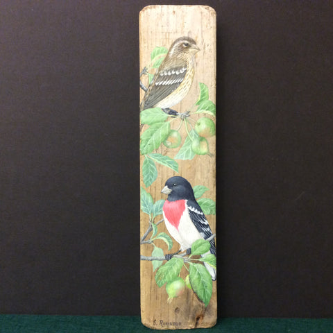 Driftwood Painting Rose-breasted Grosbeaks