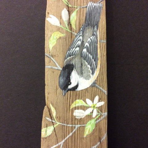 Driftwood Painting Chickadees and Serviceberry Blossoms, Susan Robins