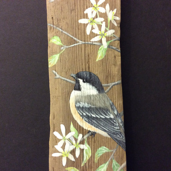 "Driftwood Painting Chickadees and Serviceberry Blossoms, Susan Robinson, Folkstore ""Spotlight"" Artist"