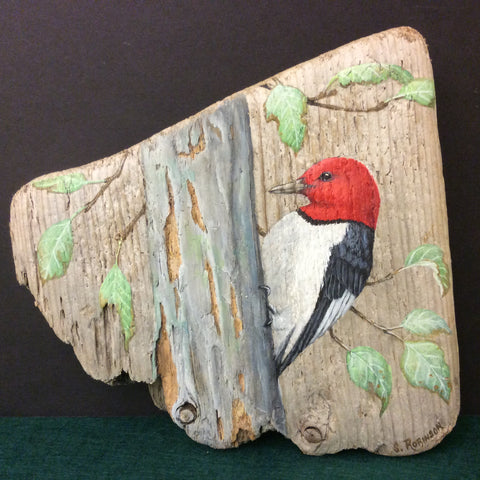 Driftwood Painting Red-headed Woodpecker