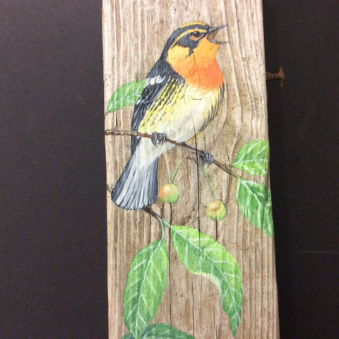 Driftwood Painting Springtime Warblers