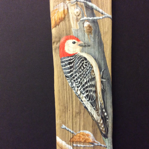 Driftwood Painting Red-bellied Woodpecker