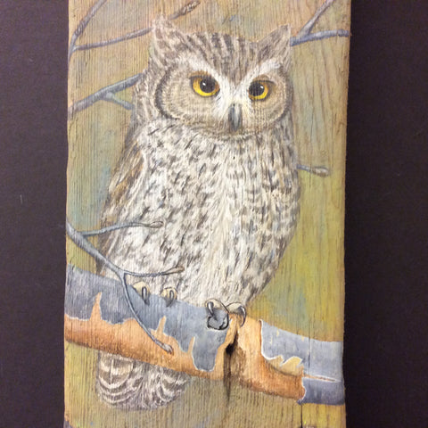 Driftwood Painting Screech Owl and Young