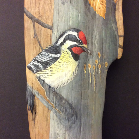 Driftwood Painting Autumn Birds(Northern Woodpeckers)