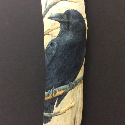 Driftwood Painting Ravens in Winter
