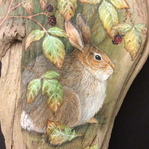 Driftwood Painting Rabbit and Blackberries