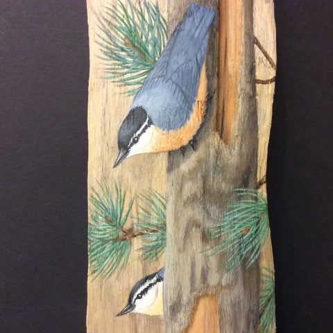 Driftwood Painting Red-Breasted Nuthatches