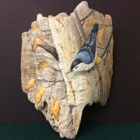 Driftwood Painting Nuthatch and Fall Leaves