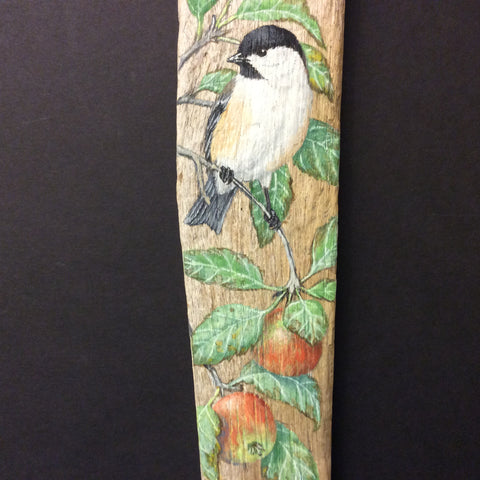 Driftwood Painting Chickadees and Crabapples