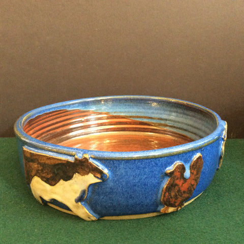 Shallow Blue bowl with Farm Animals