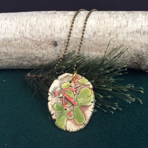 Ceramic Pendant Purslane, Sustainable Wheat, Light Green