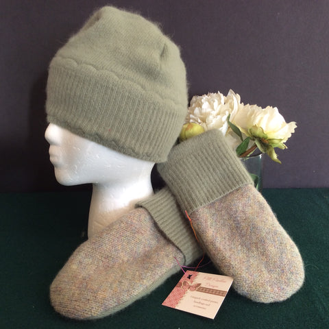 Hat and Mitten Set, Sage Green Angora Wool with Mohair Heather Trim