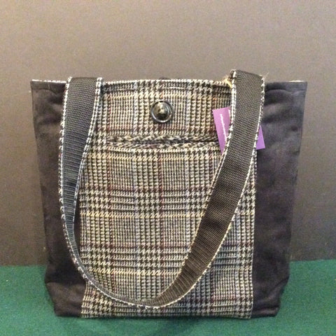 Tote Bag, Charcoal Gray Plaid with Decorative Black Side Panels