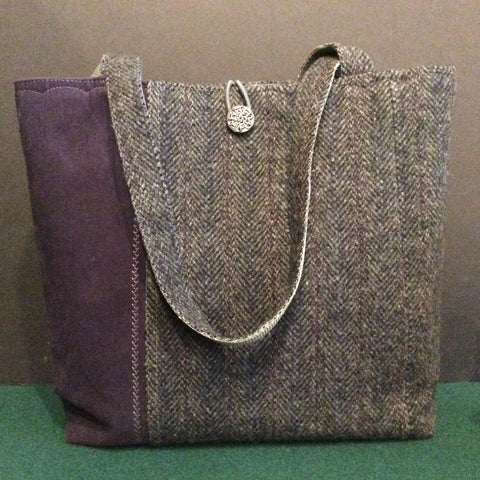 Tote Bag, Charcoal Gray Plaid with Decorative Plum Colored Side Panel