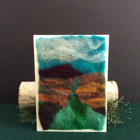 Hand Felted Card, Peaceful Waters, Kathy Montan, Canton, NY