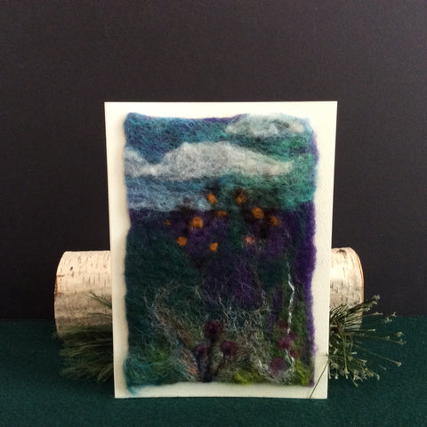 Hand Felted Card, Goldfinches, Kathy Montan, Canton, NY