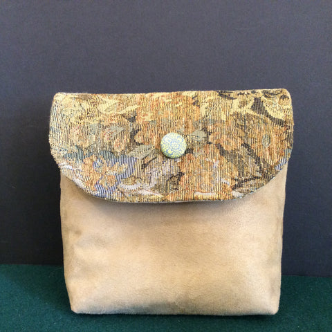"""Totally Hip"", Small Crossbody Bag, Beige Suede with Tapestry Pattern"