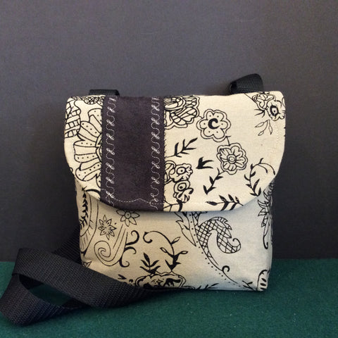 """Totally Hip"", Small Crossbody Bag, Taupe with Black Detail, Tapestry Print"