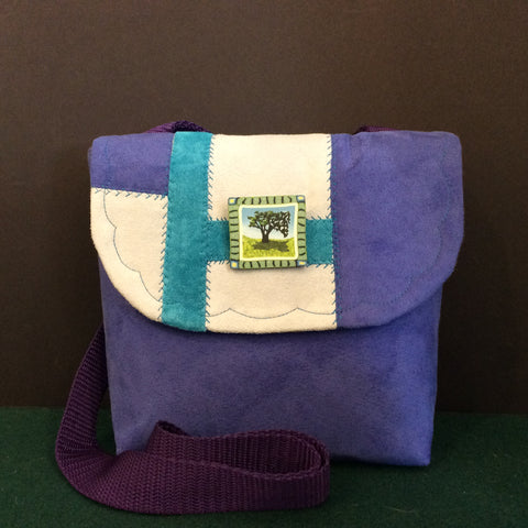 """Totally Hip"", Small Crossbody Bag, Purple with Pin"