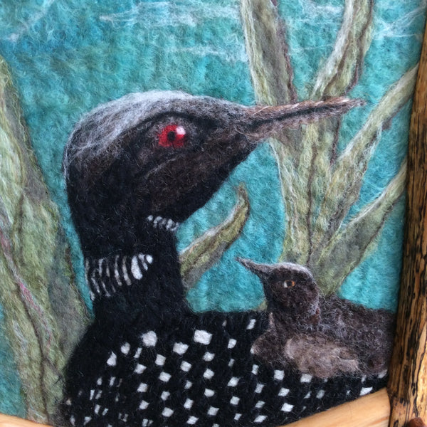 """Loon Looking Back"" Hand Felted Framed Art, Kathy Montan, Canton, NY"