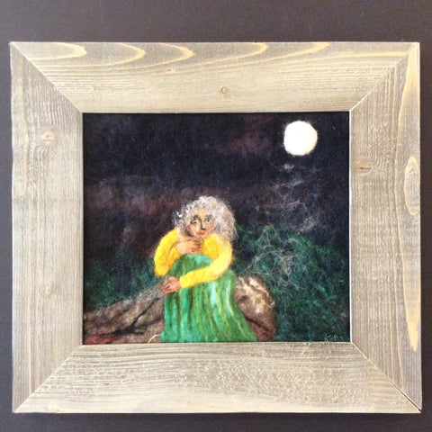 """Shaman Woman on Rock"" Hand Felted Framed Art, Kathy Montan, Canton, NY"