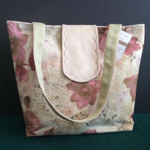Tote Bag, Rose and Tan Floral Suede