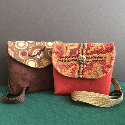"""Totally Hip"", Small Crossbody Bag, Brown Suede with ""Circles"" Tapestry Pattern Flap"