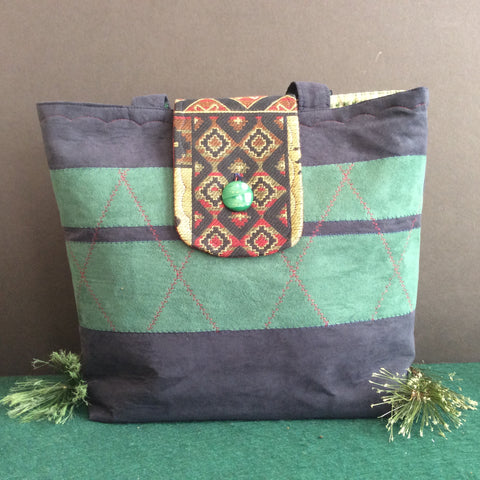 Tote Bag, Dark Blue and Green Suede with Moose Tapestry Back Pocket