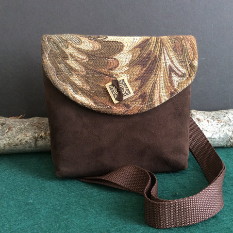 """Totally Hip"", Small Crossbody Bag, Brown Suede with Square Metal Button"