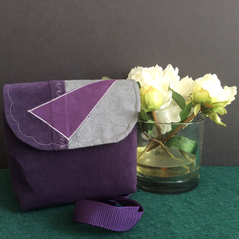 """Totally Hip"", Small Crossbody Bag, Purple Ultra Suede"