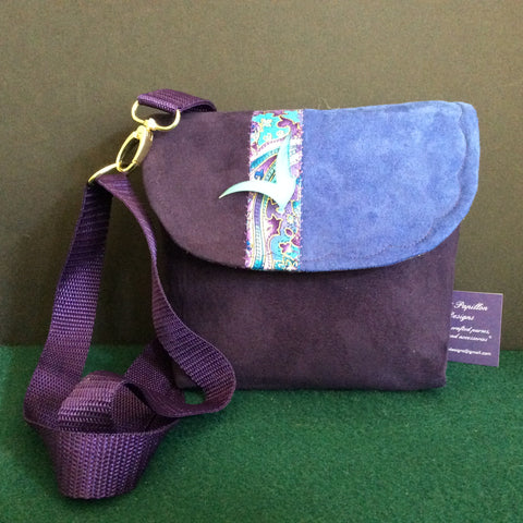 """Totally Hip"", Small Crossbody Bag, Purple, Periwinkle With Paisley Pattern"