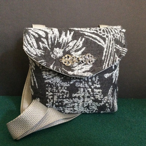 """Totally Hip"", Small Crossbody Bag, Charcoal and Light Gray Tapestry Pattern"