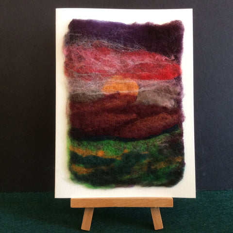"Hand Felted Notecard ""North Country Sunset"", Kathy Montan, Canton, NY"
