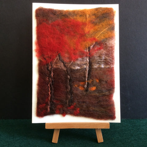 "Hand Felted Notecard ""Fall Radiance"", Kathy Montan, Canton, NY"