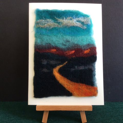 "Hand Felted Notecard ""Going to the Mountains"", Kathy Montan, Canton, NY"