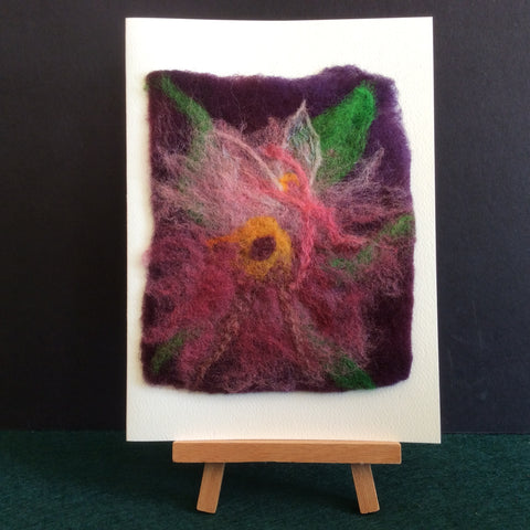 "Hand Felted Notecard ""Pink Flower Fairy"", Kathy Montan, Canton, NY"