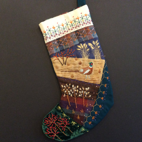 Crazy Quilt Christmas Stocking, Pheasant, Anne Hopkins, Hopkinton, NY