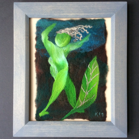 """Green Leaf Woman"" Hand Felted Framed Art, Kathy Montan, Canton,"