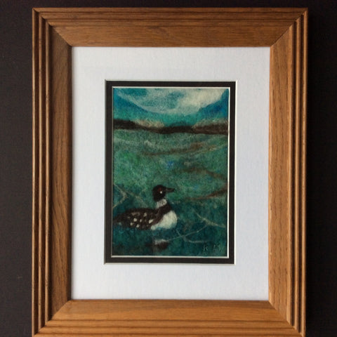 """Loon"" Hand Felted Framed Art, Kathy Montan, Featured Folk Artist, Canton, NY"