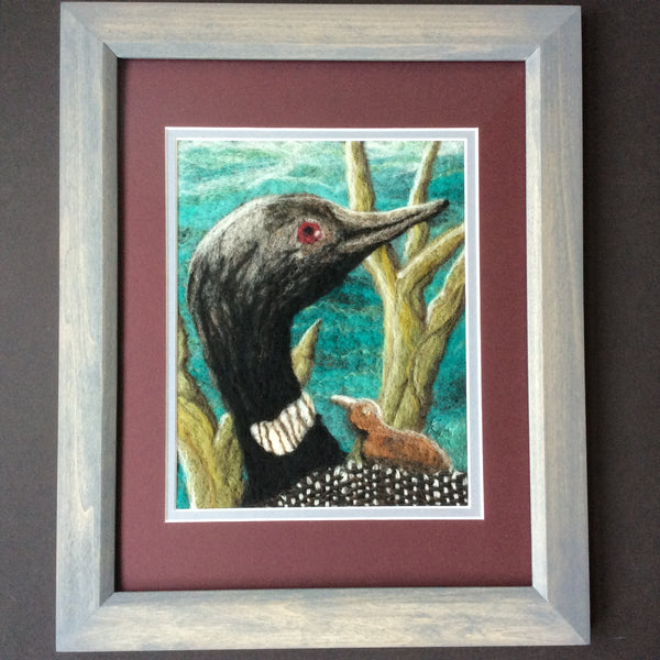 """Loon with Chick"" Hand Felted Framed Art, Kathy Montan, Featured Folk Artist, Canton, NY"