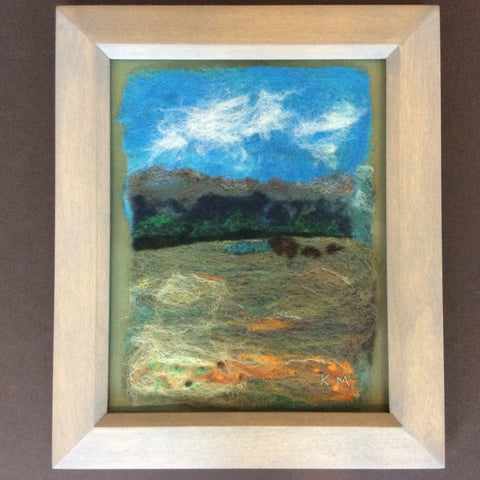 """Three Bears Crossing"", Hand Felted Framed Art, Kathy Montan, Featured Folk Artist, Canton, NY"