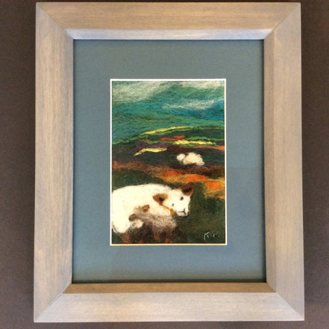 """Ewe with Lamb"" Hand Felted Framed Art, Kathy Montan, Featured Folk Artist, Canton, NY"