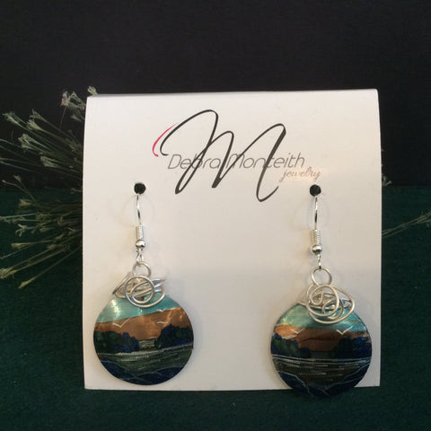 Textured Earrings Seagulls and Water with Silver Wire Wrap, Debra Monteith, Morristown, NY