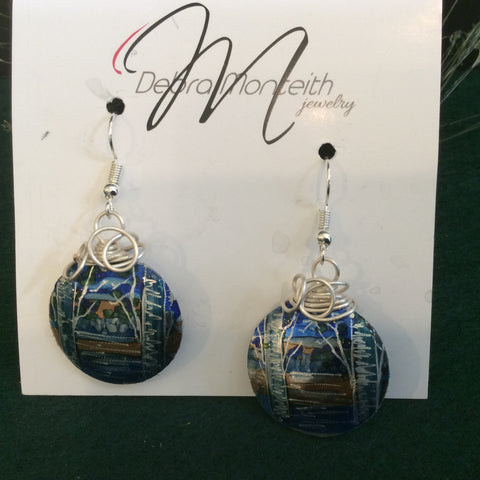 Textured Earrings Birch Trees and Water with Silver Wire Wrap, Debra Monteith, Morristown, NY
